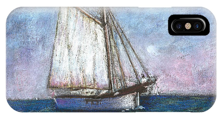 Boat IPhone Case featuring the pastel Sailboat by Arline Wagner