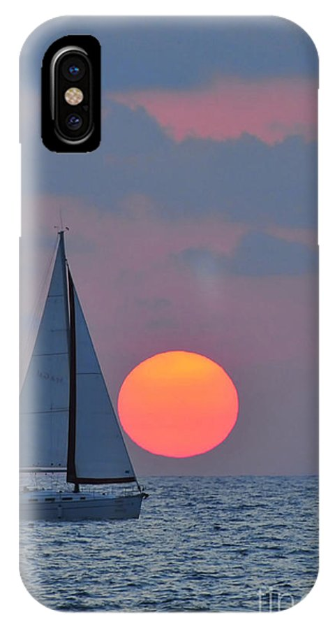 Sail Boats IPhone X Case featuring the photograph Sailboat At Sunset by Shay Levy