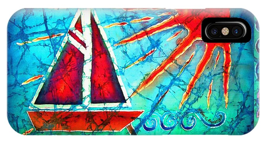 Sailboat IPhone X Case featuring the painting Sailboat In The Sun by Sue Duda