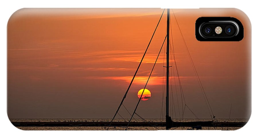 Boat IPhone X Case featuring the photograph Sailboat Sunrise Chicago by Steve Gadomski