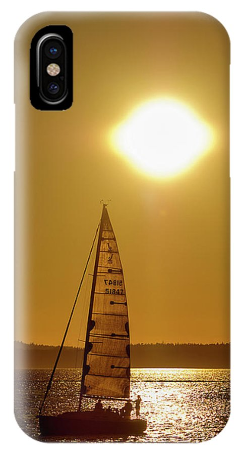 Bellingham; Boardwalk; Long Exposure; Boulevard Park; Whatcom County; Washington; Night Photography; Sunset; Bellingham Bay; Salish Sea; Puget Sound; Watersport; Lazy Day On The Bay; IPhone X Case featuring the photograph Sailboating During Sunset by Paul Conrad