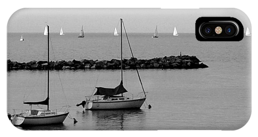Sailboats IPhone X Case featuring the photograph Sailboats And Ducks B-w by Anita Burgermeister