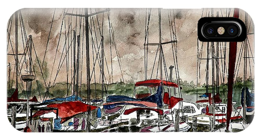 Watercolor IPhone X Case featuring the painting Sailboats At Night by Derek Mccrea