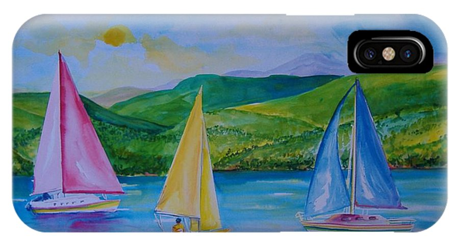 Sailboats IPhone Case featuring the painting Sailboats by Laura Rispoli