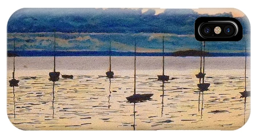 Sailboats Moored Clouds Front Ocean Sea Lake IPhone X Case featuring the painting Sailboats Moored Clouds Front Ocean Sea Lake by William Tremble
