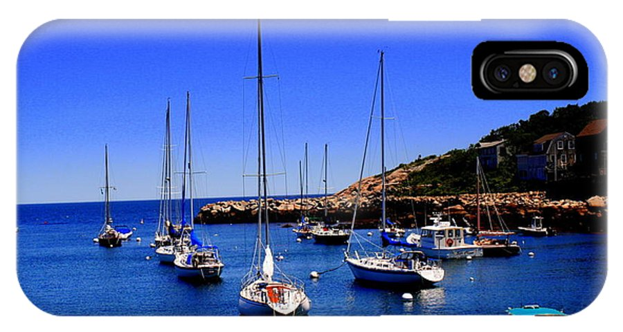 Rockport IPhone X / XS Case featuring the photograph Sailboats Moored In Rockport Harbour. by John Kenealy