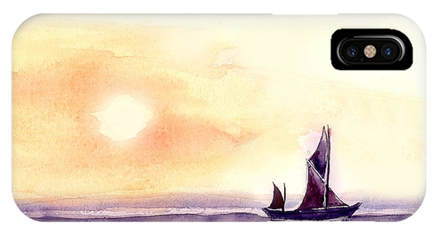 Nature IPhone X Case featuring the painting Sailing by Anil Nene