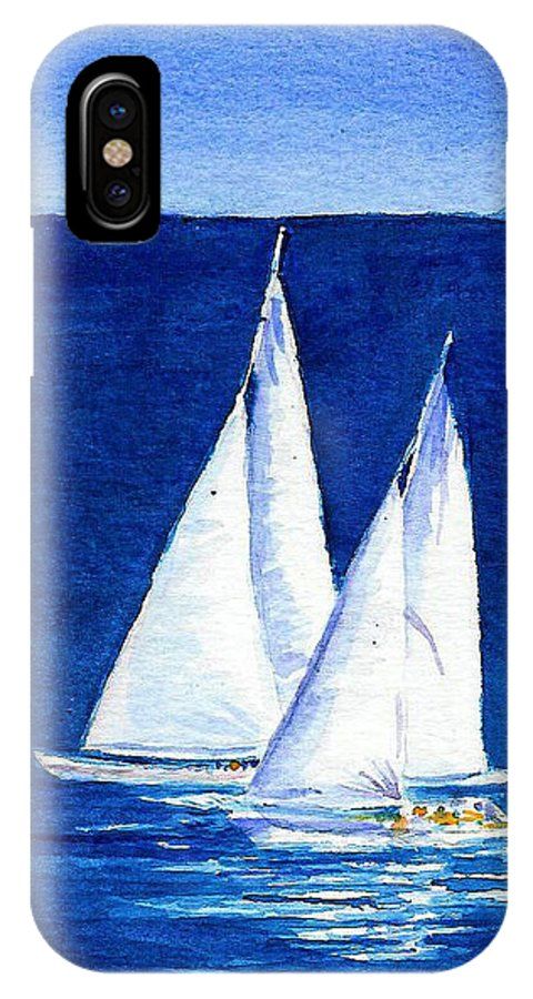 Sailboats IPhone X Case featuring the painting Sailing by Anne Marie Brown