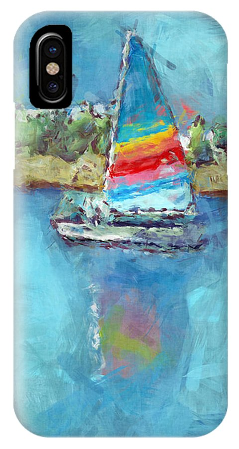 Sailboat IPhone X Case featuring the digital art Sailing by Arline Wagner