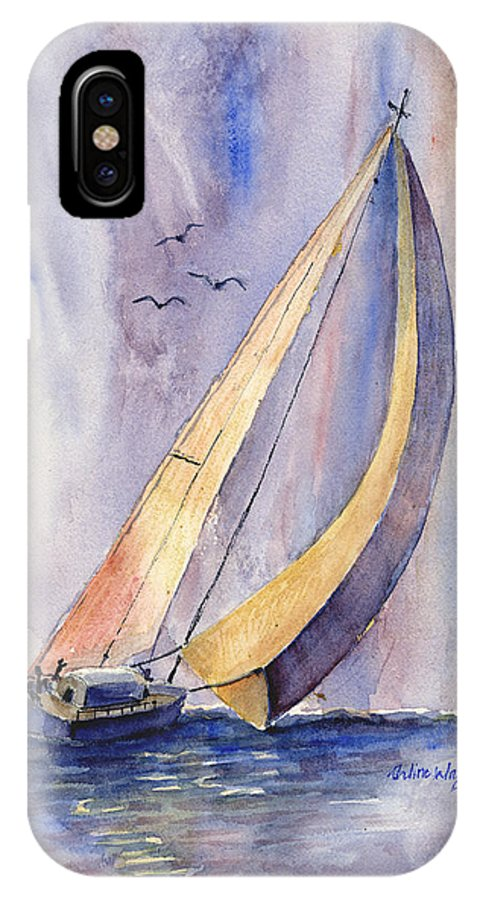 Sailboat IPhone Case featuring the painting Sailing At Sunset by Arline Wagner