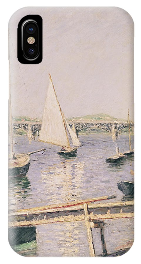 Yachting IPhone X Case featuring the painting Sailing Boats At Argenteuil by Gustave Caillebotte