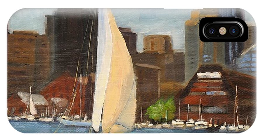 Oil Painting IPhone X Case featuring the painting Sailing Boston Harbor by Laura Lee Zanghetti
