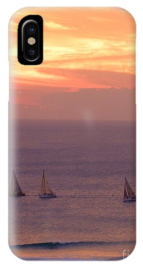 Sailing IPhone X Case featuring the photograph Sailing In The Golden Glow by Mary Deal