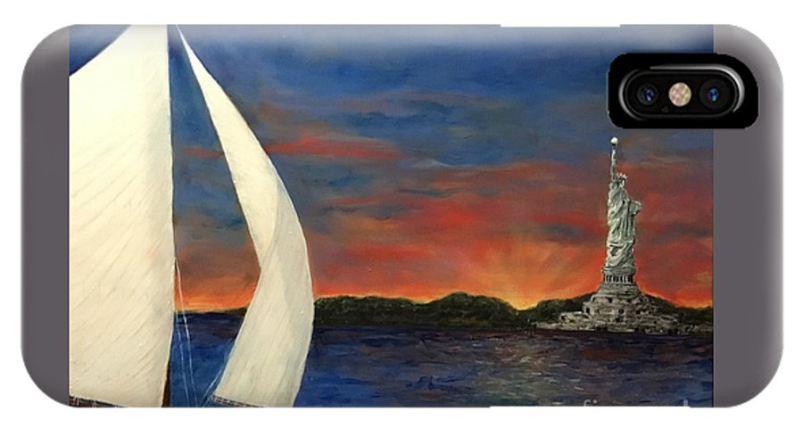Statue Of Liberty IPhone X Case featuring the painting Sailing Liberty by Diane Donati