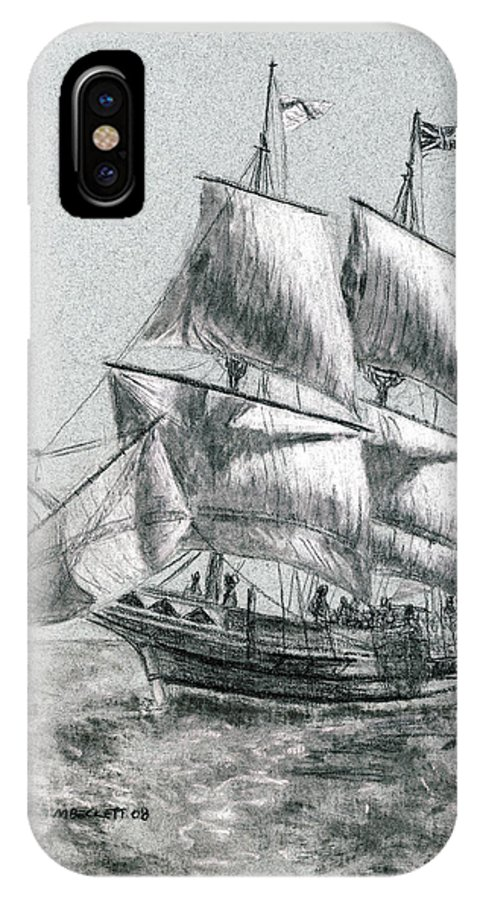 Seascape IPhone X Case featuring the drawing Sailing by Michael Beckett