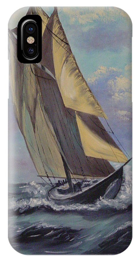 Ocean IPhone X Case featuring the painting Sailing by Quwatha Valentine