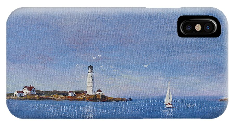 Seascape IPhone X Case featuring the painting Sailing to Boston Light by Laura Lee Zanghetti