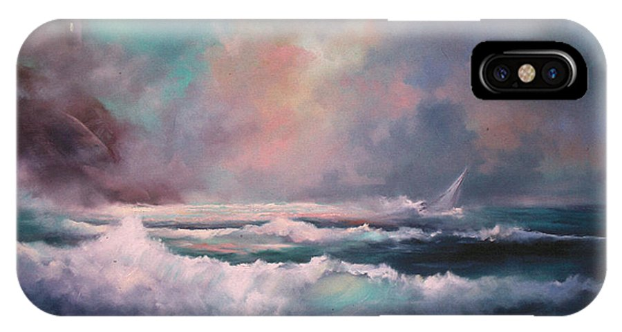 Storm IPhone X Case featuring the painting Sailors Plight by Sally Seago