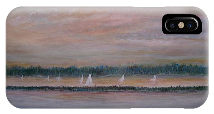 Sailboats; Marsh; Sunset IPhone X Case featuring the painting Sails In The Sunset by Ben Kiger