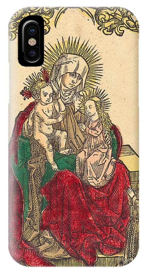 IPhone X Case featuring the drawing Saint Anne, The Madonna And Child, And A Franciscan Monk by German 15th Century