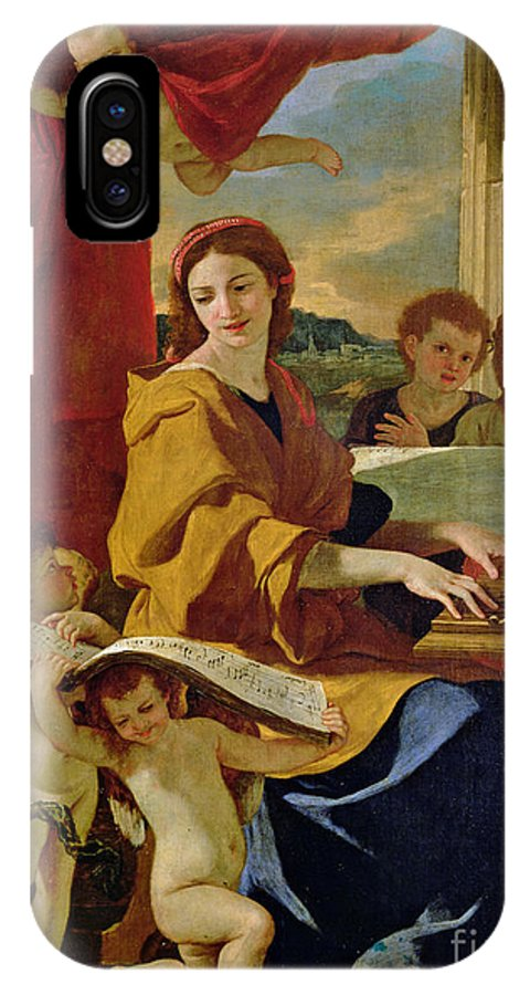 Cecilia IPhone X Case featuring the painting Saint Cecilia by Nicolas Poussin