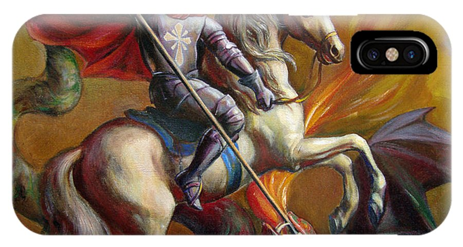 Saint George IPhone Case featuring the painting Saint George And The Dragon by Svitozar Nenyuk