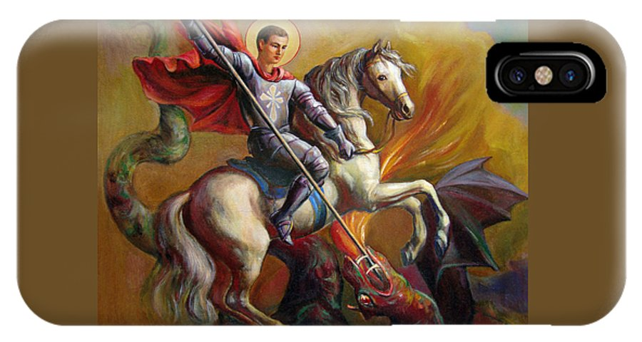 Saint George IPhone X Case featuring the painting Saint George And The Dragon by Svitozar Nenyuk