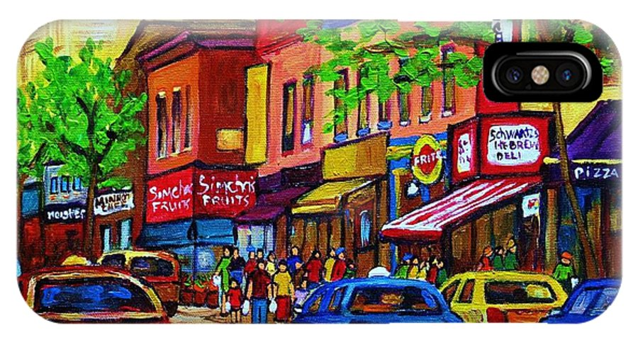 Cityscape IPhone Case featuring the painting Saint Lawrence Street by Carole Spandau