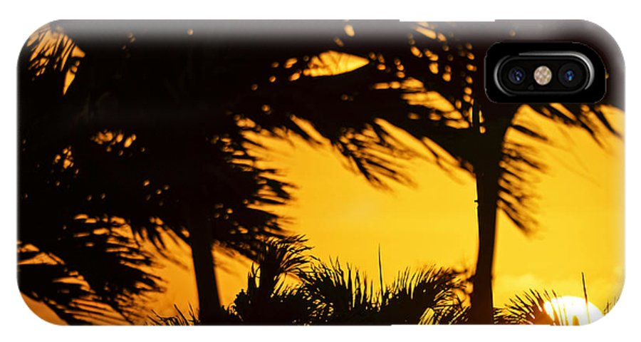 Sunset IPhone X Case featuring the photograph Saint Martin Sunset Through The Palm Trees by Toby McGuire