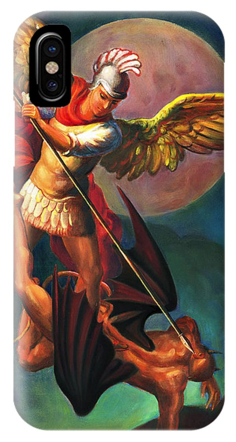Bible IPhone Case featuring the painting Saint Michael The Warrior Archangel by Svitozar Nenyuk