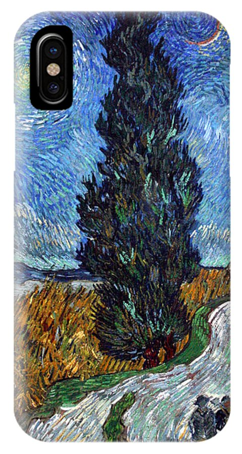 Vincent Van Gogh IPhone X Case featuring the painting Saint-remy Road With Cypress And Star by Vincent Van Gogh