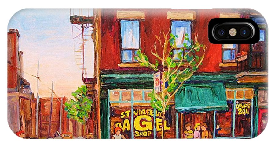 Montreal IPhone X Case featuring the painting Saint Viateur Bagel by Carole Spandau