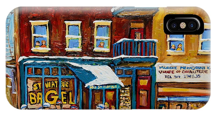 Montreal IPhone X Case featuring the painting Saint Viateur Bagel With Hockey by Carole Spandau