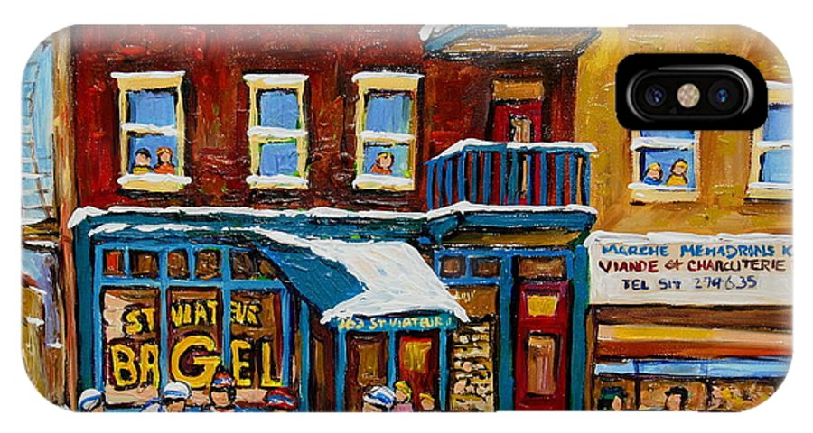 Montreal IPhone Case featuring the painting Saint Viateur Bagel With Hockey by Carole Spandau