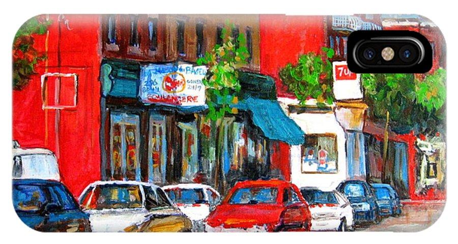St.viateur Bagel IPhone X Case featuring the painting Saint Viateur Street by Carole Spandau