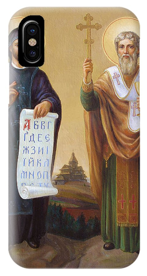 Saints IPhone X Case featuring the painting Saints Cyril And Methodius - Missionaries To The Slavs by Svitozar Nenyuk