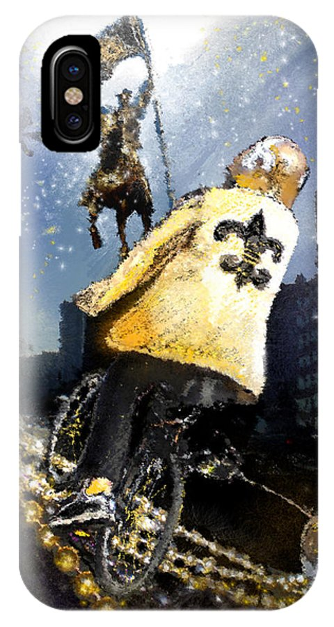New Orleans IPhone X Case featuring the painting Saints Summit In New Orleans by Miki De Goodaboom