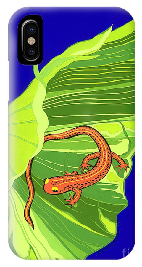 Nature IPhone X Case featuring the drawing Salamander by Lucyna A M Green