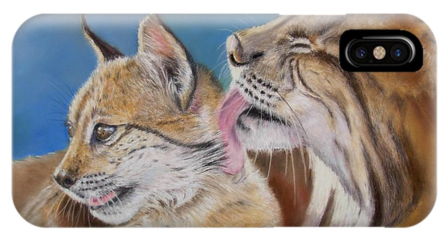 Iberian Lynx IPhone X Case featuring the painting Saliega y Brezo by Ceci Watson