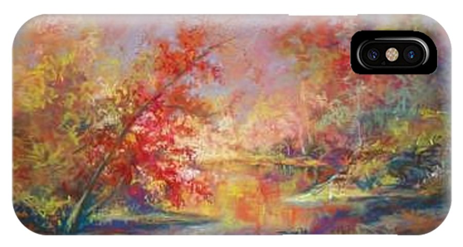 Landscape In Autumn IPhone X Case featuring the painting Saline River View by Marlene Gremillion