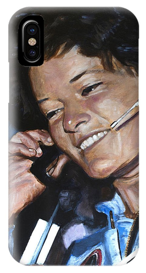 Sally Ride IPhone X Case featuring the painting Sally Ride by Simon Kregar
