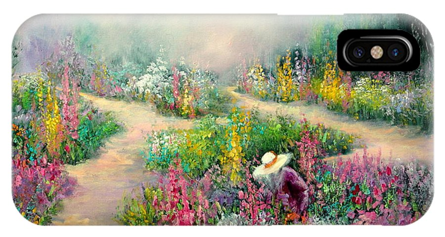 Flowers IPhone X Case featuring the painting Sally's Garden by Sally Seago