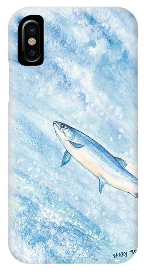 Fish IPhone X Case featuring the painting Salmon by Mary Tuomi
