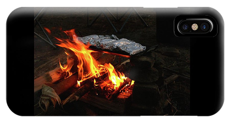 Foil IPhone X / XS Case featuring the photograph Salmon On The Fire by Elizabeth Jeffries