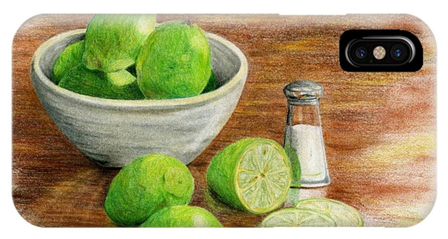 Fruit IPhone X Case featuring the painting Salt and Lime by Mary Tuomi