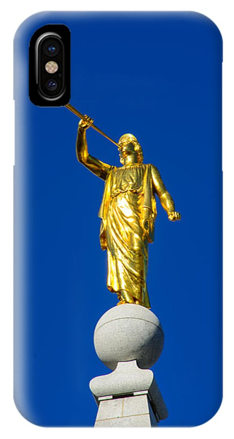 Temple IPhone X Case featuring the photograph Salt Lake City Angel Moroni 2015 by Tikvah's Hope