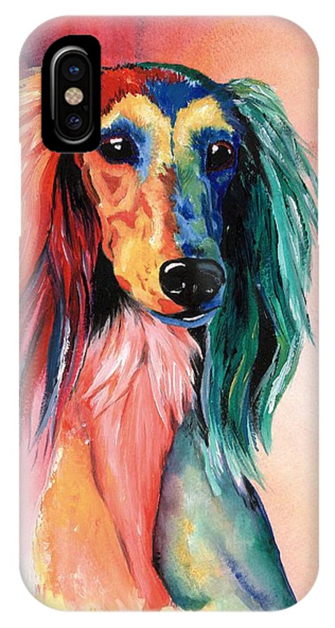 Saluki IPhone Case featuring the painting Saluki Sunset by Kathleen Sepulveda