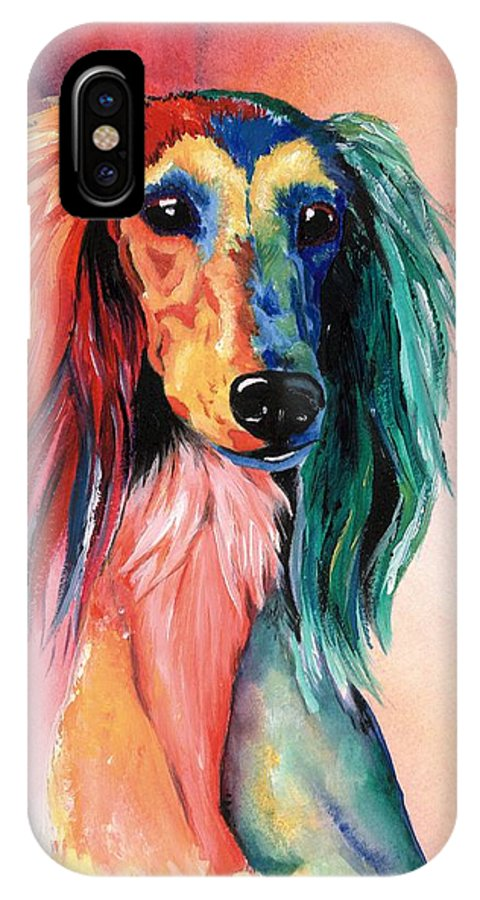 Saluki IPhone X Case featuring the painting Saluki Sunset by Kathleen Sepulveda