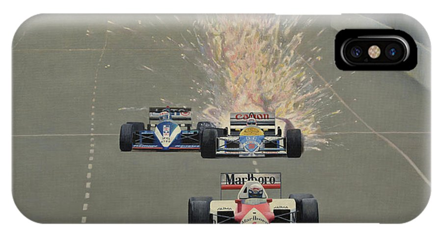 Formula One IPhone X Case featuring the painting Salute by Oleg Konin