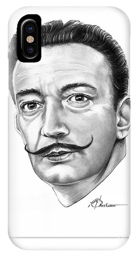 Salvador Dali IPhone Case featuring the drawing Salvador Dali by Murphy Elliott